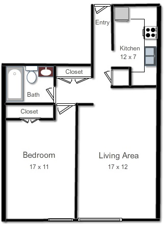 APARTMENT A One Bedroom, One Bath, Living Area and KitchenRent Starting From: $1,105