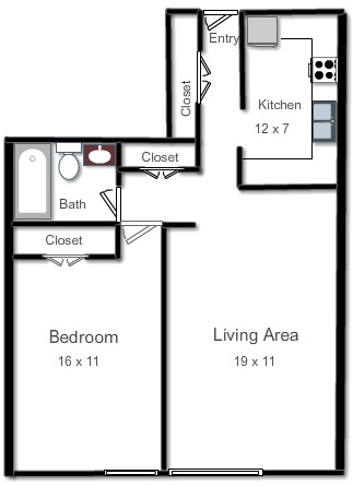 APARTMENT B  One Bedroom, One Bath, Living Area and KitchenRent Starting From: $1,105