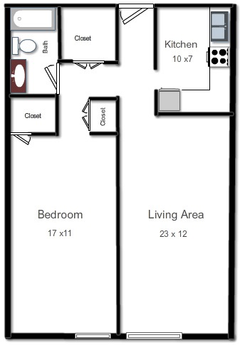 APARTMENT C  One Bedroom, One Bath, Living Area and KitchenRent Starting From: $1,105