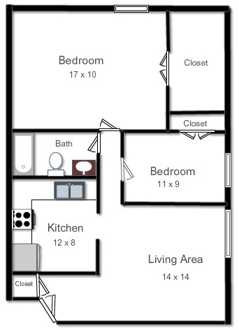 APARTMENT D  Two Bedroom, One Bath, Living Area and KitchenRent Starting From: $1,400