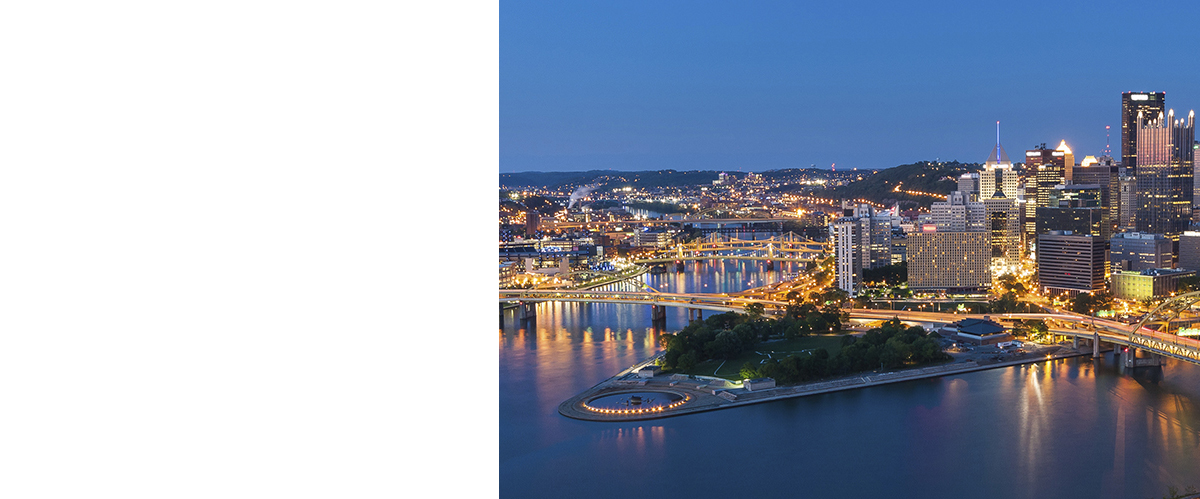 Pittsburgh Downtown Skyline At Night, Pennsylvania, USA